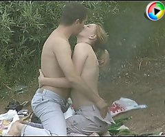 Fucky beach blondie sucks off a guy and gets fucked