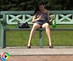 Spy upskirt pussy video shot by hunter in a busy street